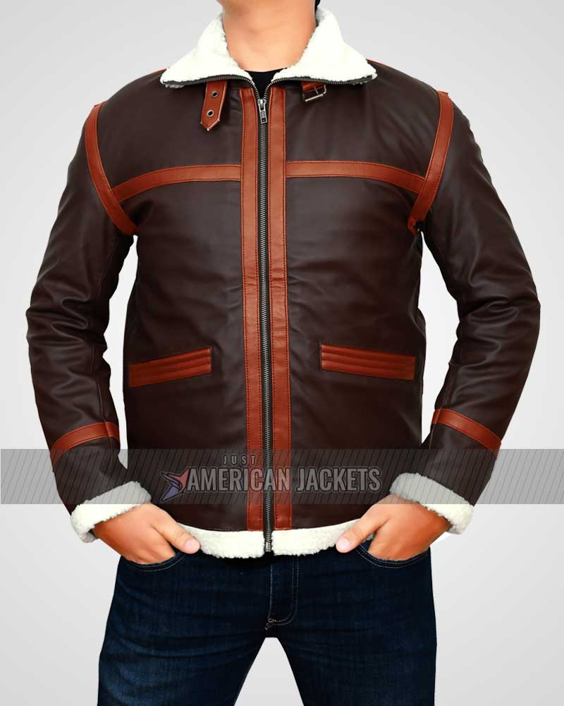 Resident Evil 4 Shearling Brown Leon Kennedy Jacket Just American Jackets