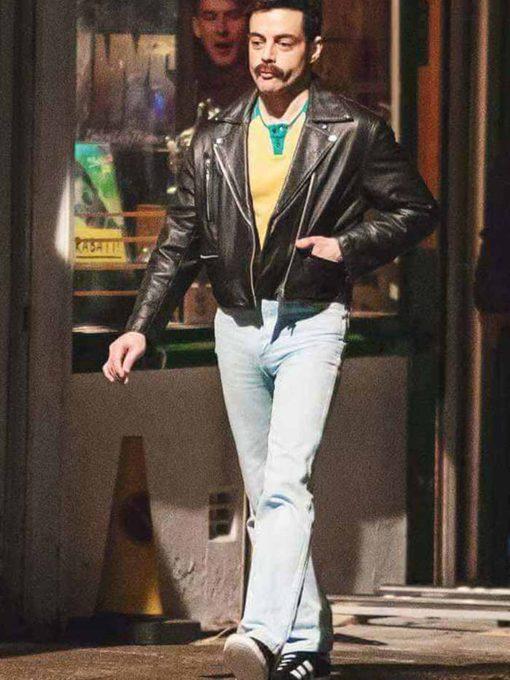 Rami Malek Black Leather Jacket