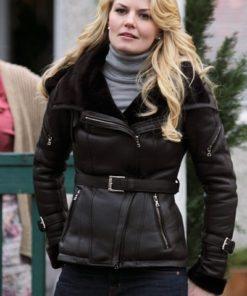Emma Swan Black Leather Shearling Jacket