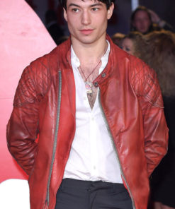 Ezra Miller Red Qulited Jacket