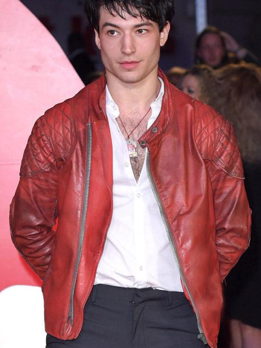 Ezra Miller Red Qulited Jacket