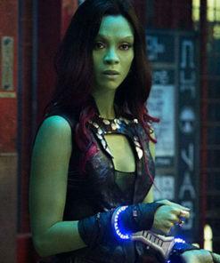 Gamora Zoe Saldana Guardians Galaxy Black Vest