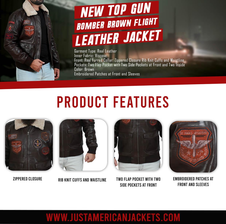 Top Gun Brown Flight Leather Jacket