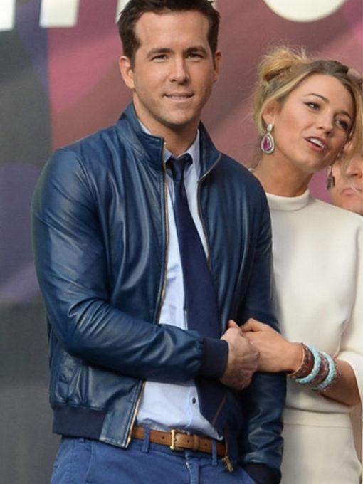 Ryan Reynolds Blue Bomber Jacket