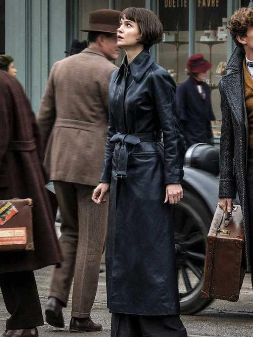 Tina Goldstein Fantastic Beasts 2 Katherine Waterston Leather Coat