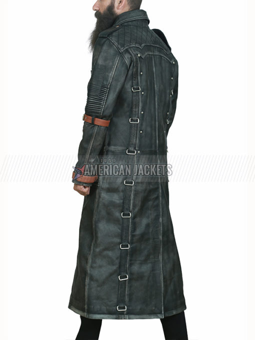 Black Leather Trench Coat From PUBG