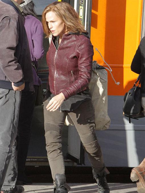 Jennifer Garner Peppermint Maroon Leather Jacket