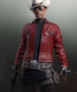 PUBG Red Quilted Leather Jacket