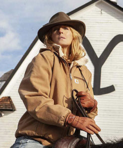 Kelly Reilly Yellowstone Brown Bomber Jacket