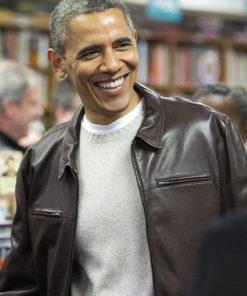 President Obama Brown Leather Jacket
