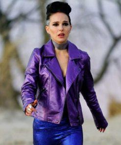 Vox Lux Celeste Montgomery Purple Leather Jacket