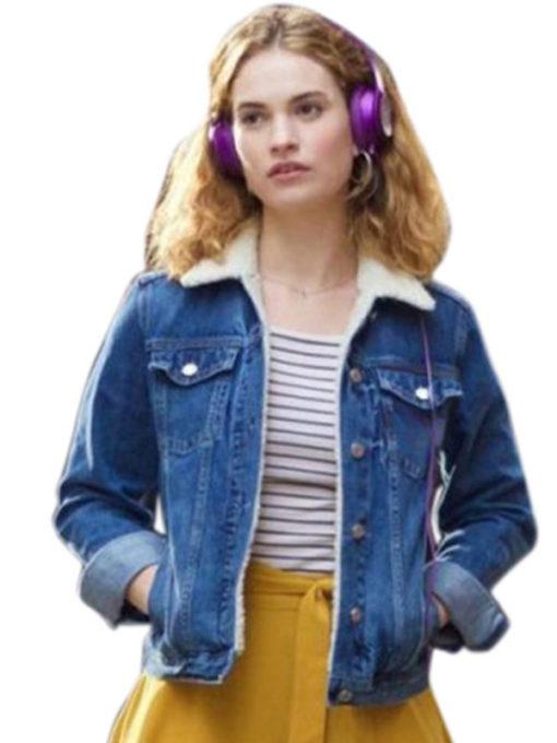 Debora Baby Driver Lily James Shearling Collar Jacket