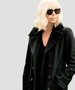 Charlize Theron Atomic Blonde Black Wool Coat