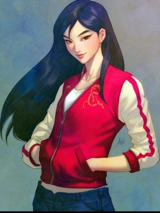 Mulan Ralph Breaks the Internet Red Varsity Jacket