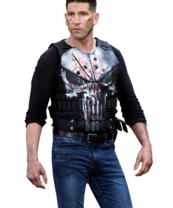Jon Bernthal The Punisher Frank Castle Black Leather Vest