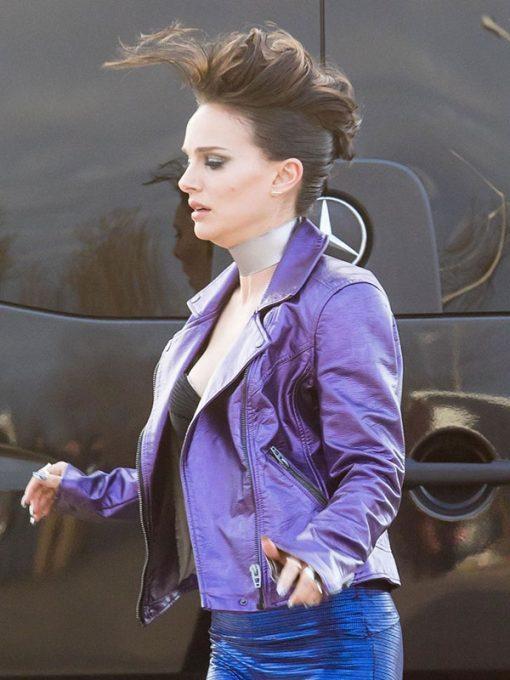Natalie Portman Vox Lux Celeste Purple Leather Jacket