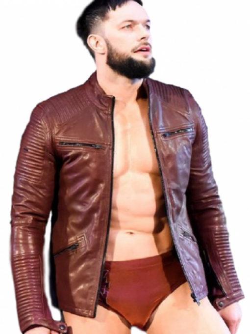 Wrestler Finn Balor Red Leather Jacket