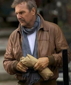 Three Days to Kill Kevin Costner Brown Leather Jacket