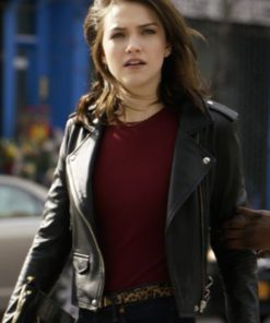 Violett Beane God Friended Me Black Leather Jacket