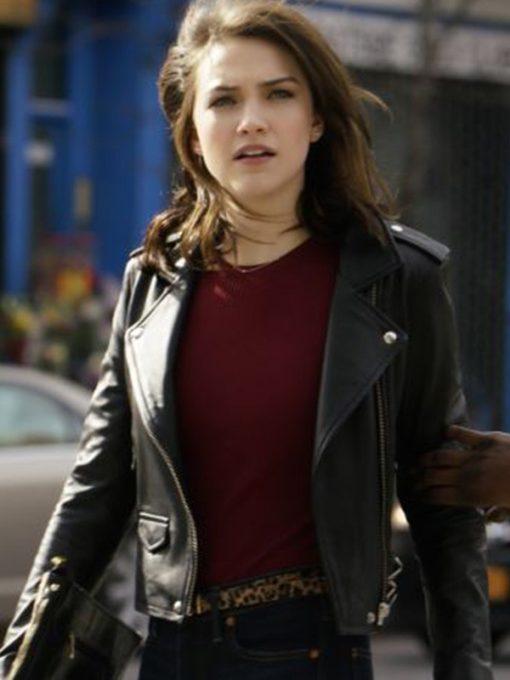 Violett Beane God Friended Me Black Leather Jacket