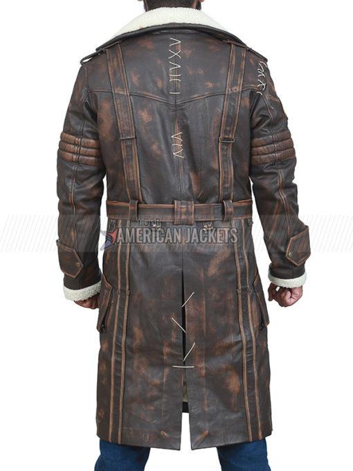 Brown Elder Maxson Leather Trench Coat