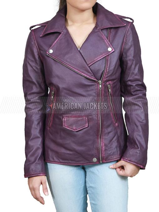 Anne Hathaway Oceans Eight Purple Leather Jacket