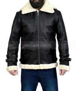 Black B3 Bomber Shearling Hooded Jacket
