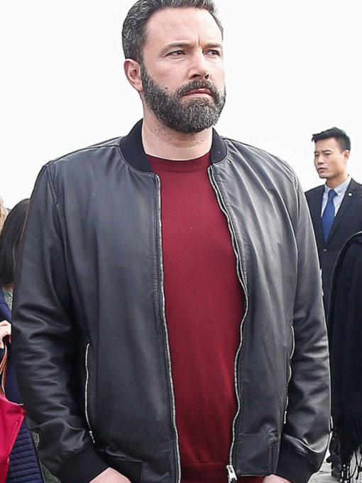 Ben Affleck Black Bomber Leather Jacket