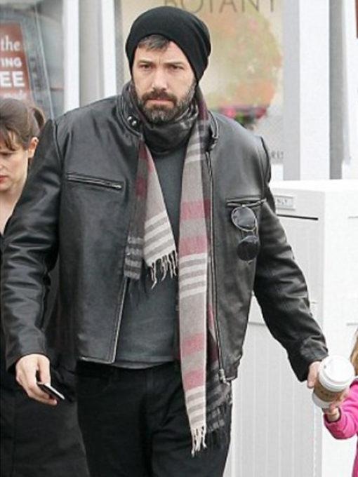 Ben Affleck Black Real Leather Jacket