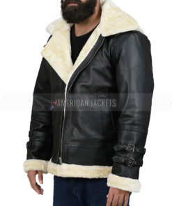 B3 Bomber Faux Shearling Hooded Leather Jacket