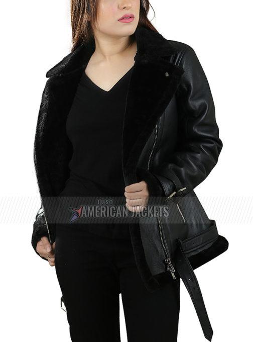 Black Dakota Johnson Shearling 'Jacket