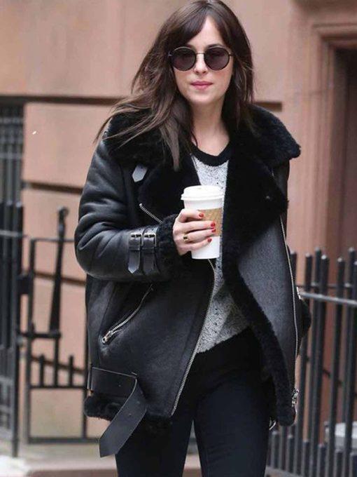Dakota Johnson Shearling Fur Leather Jacket