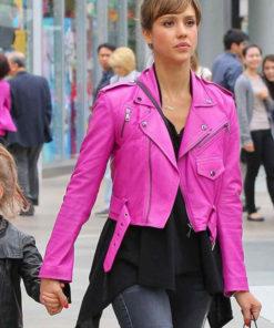 Jessica Alba Hot Pink Jacket