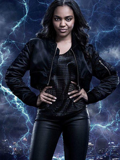 Black Lightning Jennifer Pierce Black Bomber Jacket