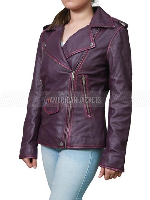 Daphne Kluger Purple Leather Jacket