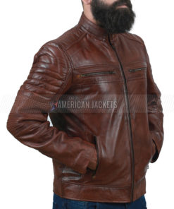 Brown Cafe Racer Jacket for Men