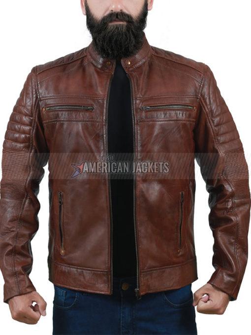 Cafe Racer Brown Leather Jacket for Men