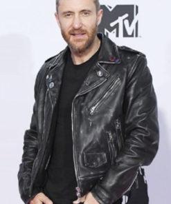 David Guetta Distressed Black Biker Leather Jacket