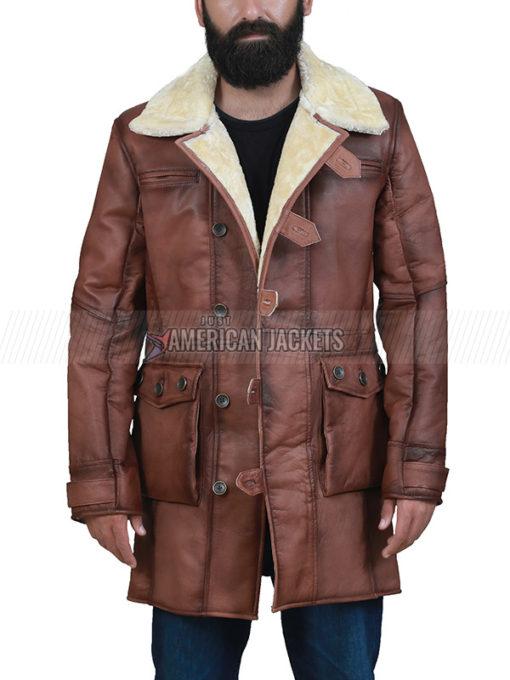 Brown Shearling Bane Coat for Men