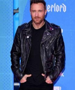 David Guetta Distressed Biker Leather Jacket