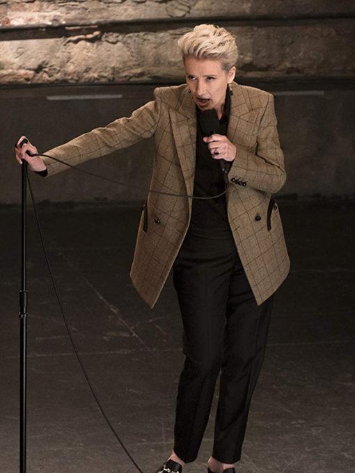 Late Night Emma Thompson checked khakhi coat