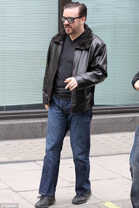 After Life Tony Johnson Shearling collar Black Leather Jacket