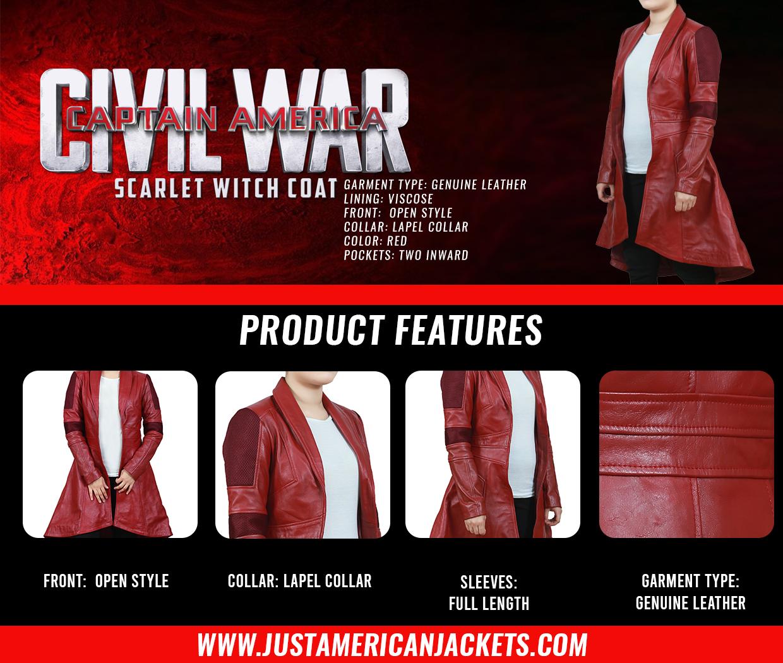 Captain America Civil War Red Leather Coat for Women
