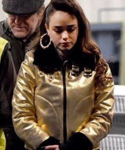 Curfew Rose Williams Metallic Gold & Black Shearling Jacket