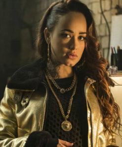 Curfew Rose Williams Golden Leather Jacket