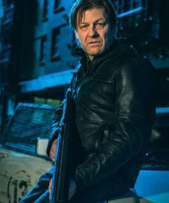 Curfew Sean Bean Black Moto Leather Jacket