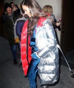 Hailee Steinfeld Silver Long Puffer Coat