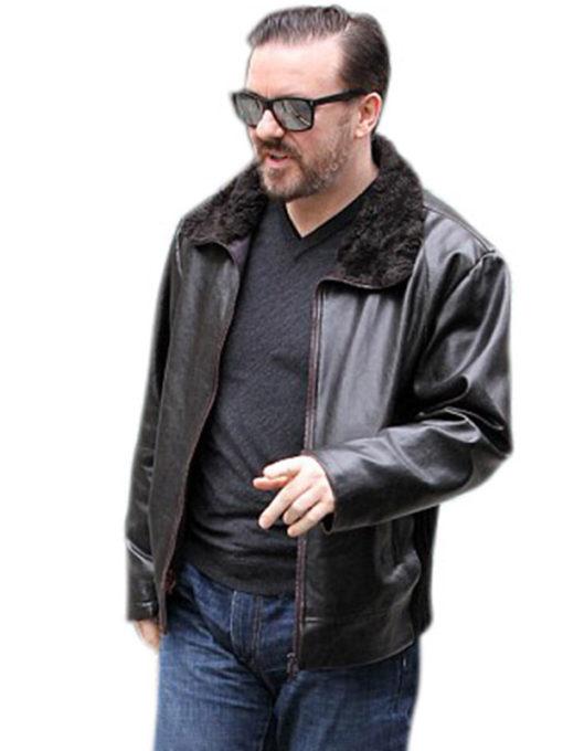 Tony Johnson After Life Black Leather Jacket