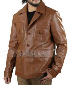 Zac Efron Brown Leather Blazer Jacket