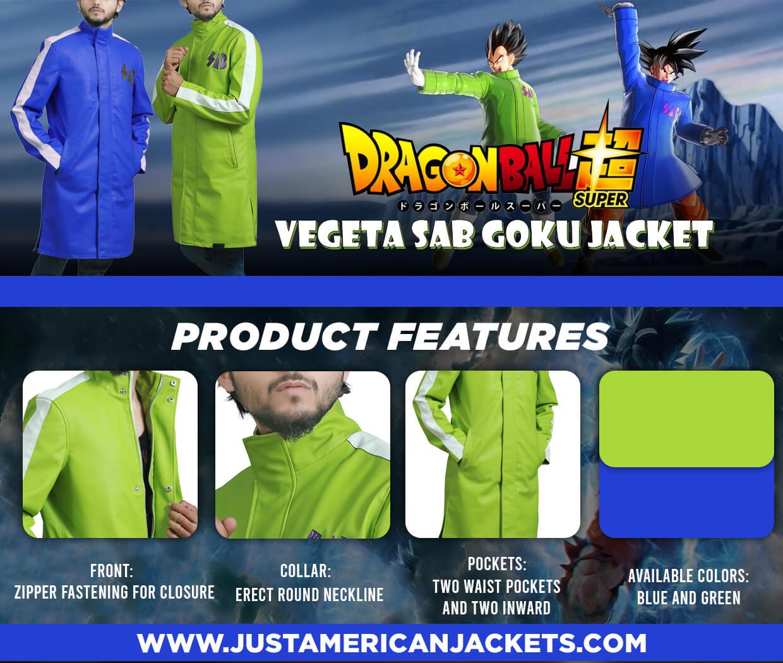 Vegeta Dragon Ball Super Broly SABB Blue and Green Jacket